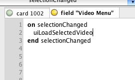 Define selectionChanged