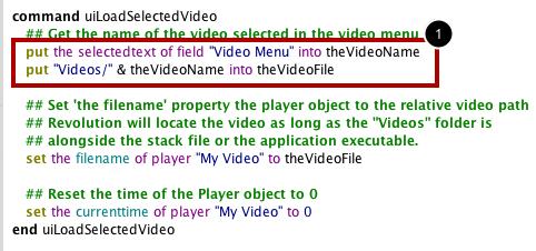 Define The uiLoadSelectedVideo Handler