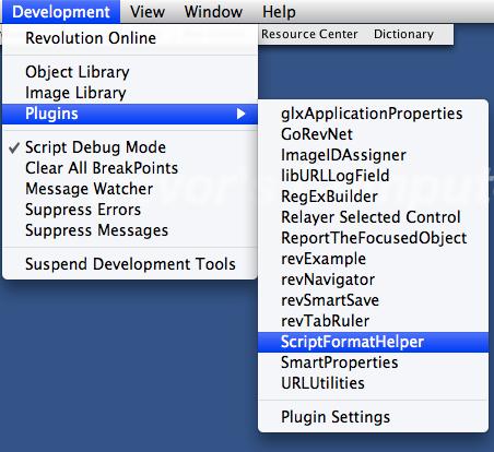 Access Plugin From the Development Menu