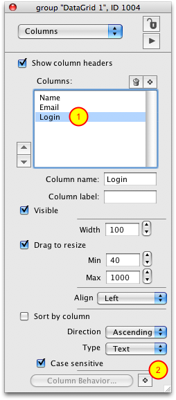 Use Property Inspector To Create a Column Template