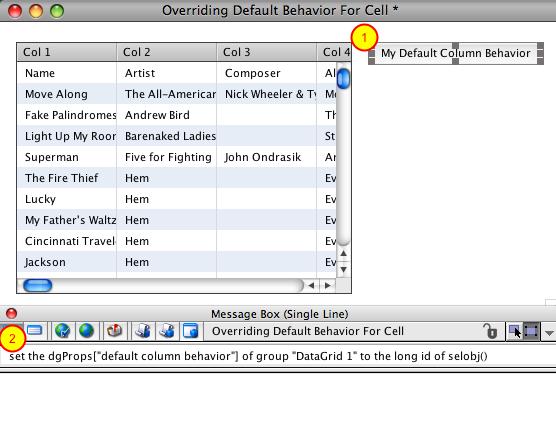 Set 'default column behavior' Property