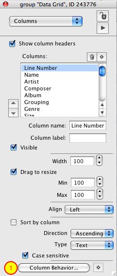 Edit Column Behavior