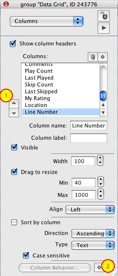 Reorder and Create Column Template