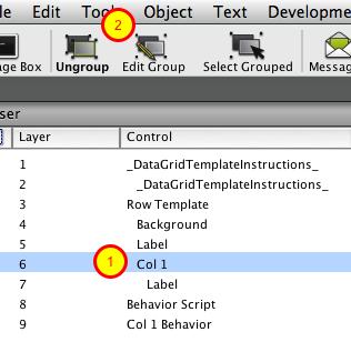 Edit Column Template Group