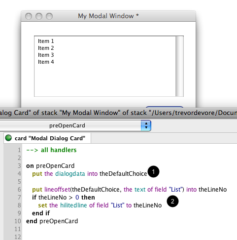 Selecting the Default Choice In The Modal Dialog List