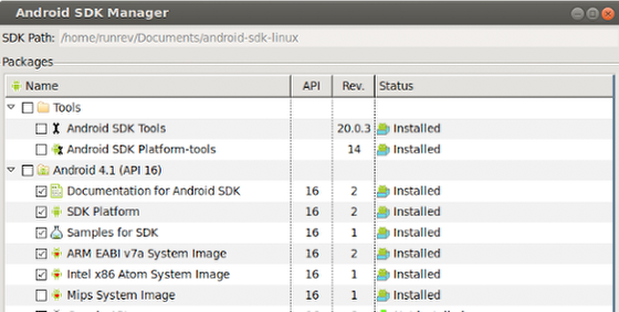Verifying the Android SDK and AVD Manager Package Installation