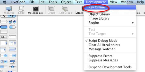Open revOnline from the Development Menu