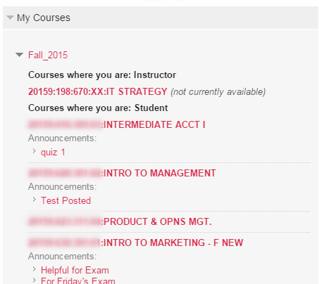 Click on your course in the My Courses module.