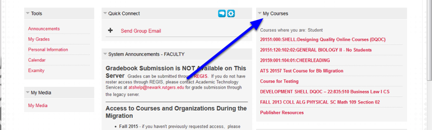 Your courses will be displayed on the right side of the page under the My Courses module.