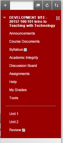 On the left side of the screen, click on the area in the course where you would like to post the file (e.g., Course Documents).