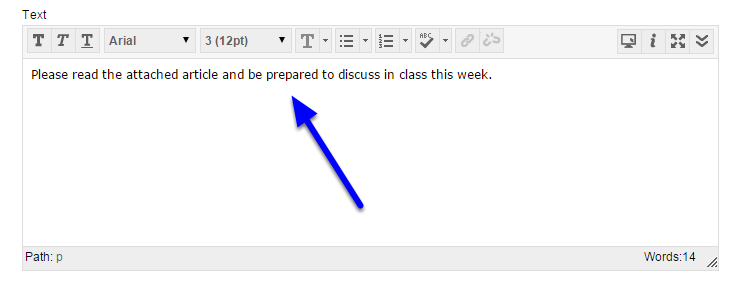 In the Text box, enter a more detailed description of the file or instructions.