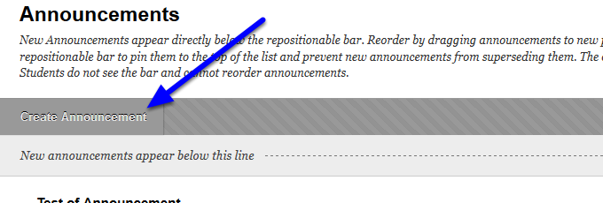 Go to the middle of the page and click create announcements