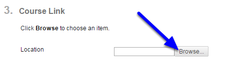 OPTIONAL: In the Course Link section, click Browse to link to a course area, tool, or item.