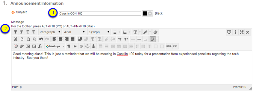 Provide a more detailed message for your students to see regarding the announcement.
