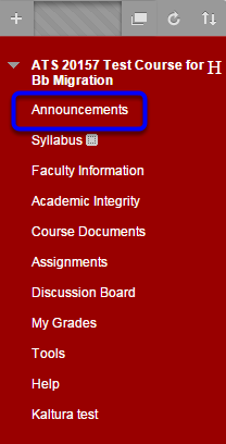 Click on Announcements in your course menu.