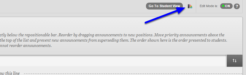 Once inside one of your courses, click on the Change Course Theme icon (looks like a multicolored fan).