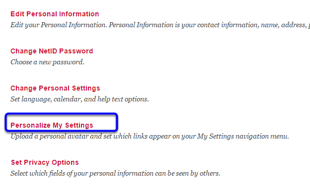 "Click on ""Personalize My Settings."""