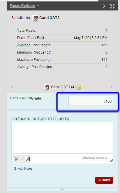 Click in the Grade box to the right to enter the student's grade.