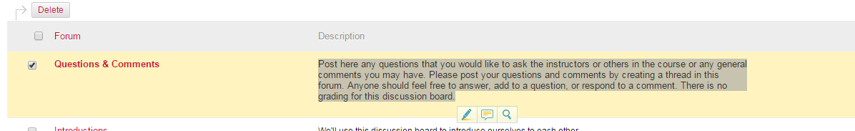 Highlight and copy the discussion board description.