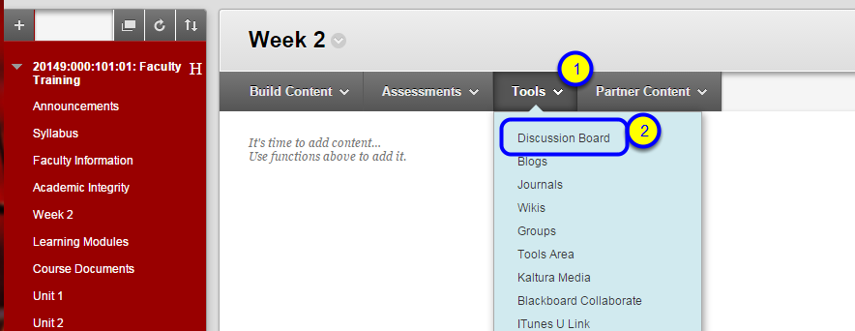 From the Tools menu, select Discussion Board.