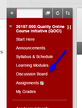 Go to the Discussion Boards section of the course.