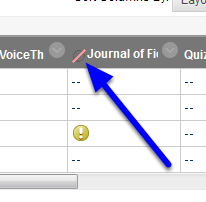 When a column is hidden from a student, a gray circle with a red slash appears next to the column name.