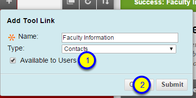 Click the Available to Users box and click Submit.