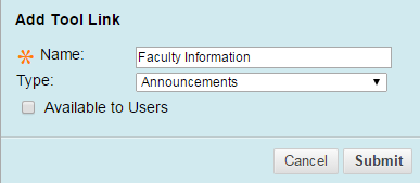 In the Name field, type Faculty Information.