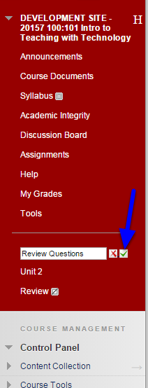 Type in the new name for the menu item and click the icon that looks like a green check mark.