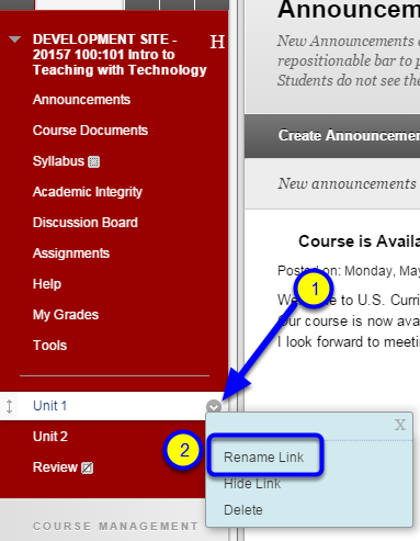 Hover your mouse over the menu item, click on the down arrow to the right of the menu item, and select Rename Link.