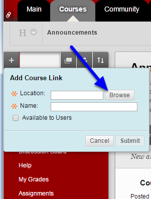 Click Browse to locate target in course.