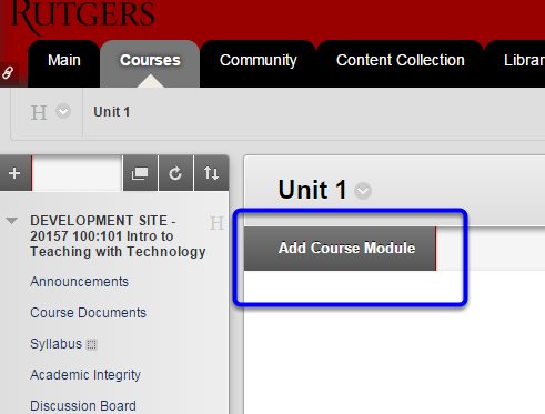 Click Add Course Module button at top left.