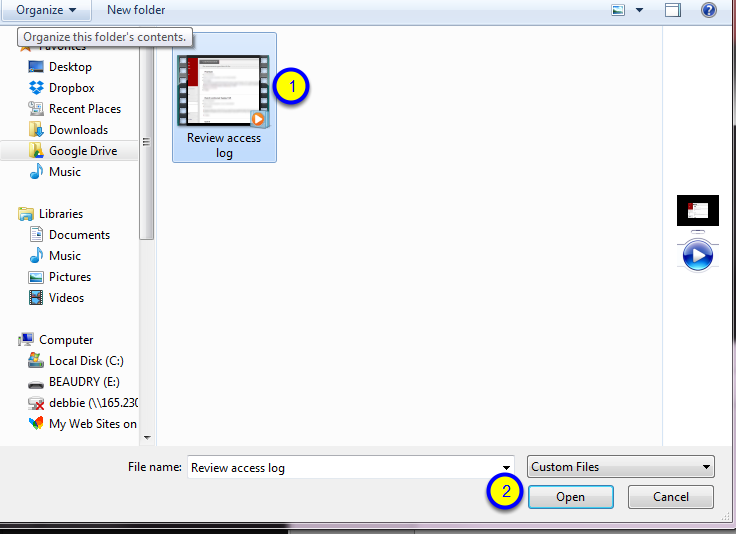 Navigate to the name of your video, audio, or image file. Click on the file to select it and click Open.