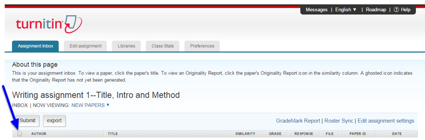 To select all student assignments, click the box the left of the AUTHOR column.