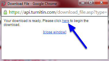 """Once the download is ready, click on the word """"here"""" to download the file."""
