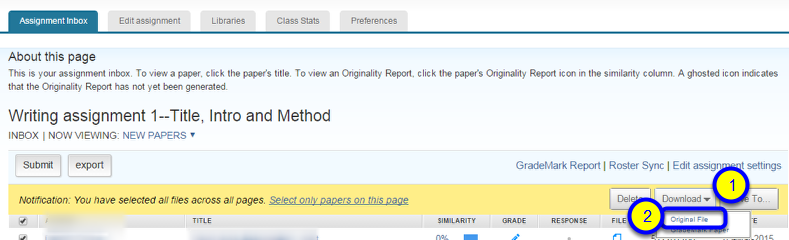 Click the down arrow to the right of Download and select Original File or GradeMark Paper.