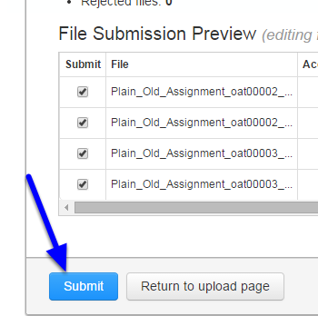 Once all the student names are matched with their papers, click Submit.
