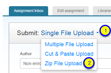 Click the down arrow next to Single File Upload and select Zip File Upload.