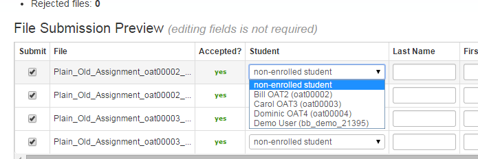 Next to each assignment name, click the down arrow in the Student column and select the appropriate student name.
