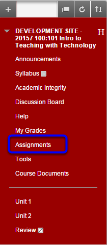 Click on the Assignments section of your course.