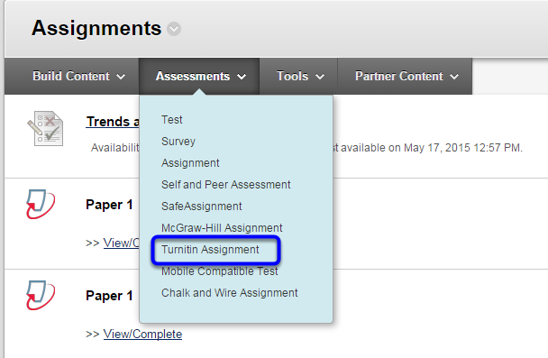 Under Assessments, click on Turnitin Assignment.