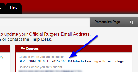 Click on your course name in Blackboard.