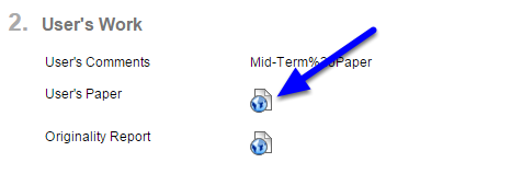 To see the student's assignment, click on the blue icon next to User's Paper.