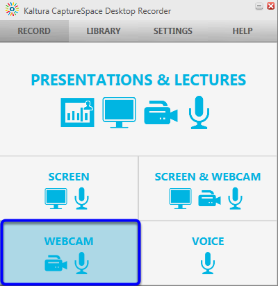 When Kaltura CaptureSpace Desktop Recorder appears at the bottom right of your computer screen, click on the Webcam icon.