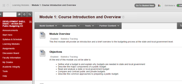 Go to where you want the VoiceThread(VT) to appear in the course (e.g., Assignments, Course Documents).