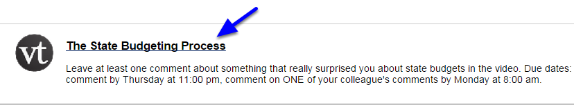Click on a VoiceThread link that you've created in Blackboard.