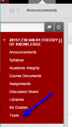 On the left side menu that students see, click Tools.