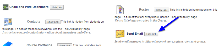 Next to Send Email, click Hide Link.