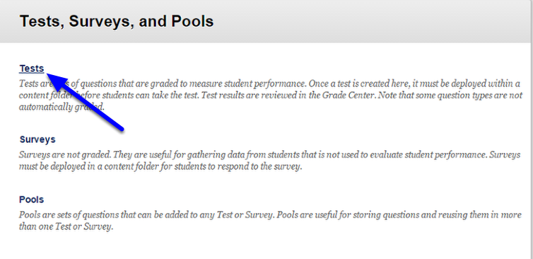 Click on Tests.