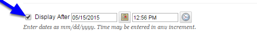 10. Click the box next to Display After and enter the date and time that the test will be available to students.